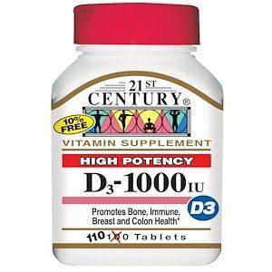 ויטמין D3, עוצמה גבוהה, IU1000 ( יח'110)