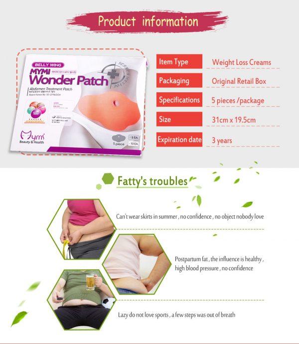 מדבקות הרזיה להורדת שומן ביטני וחיטוב המותן(5חבילות)