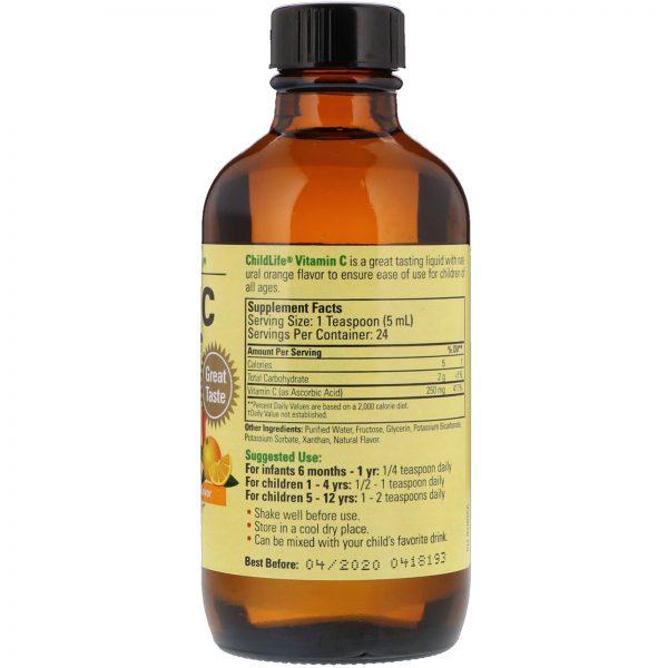 """ויטמין C נוזלי, טעם תפוז טבעי (118. מ""""ל)לתינוקות וילדים"""